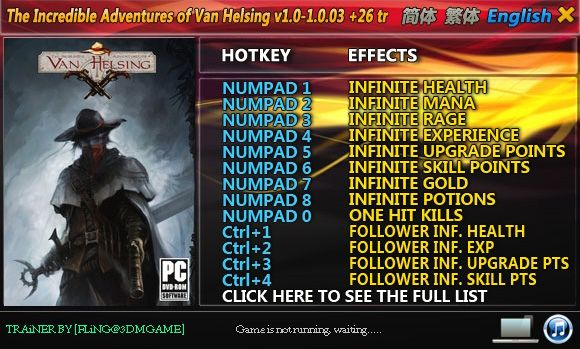 The Incredible Adventures of Van Helsing 1.0-1.0.03 +26 Trainer [FliNG]