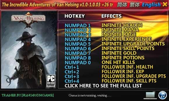 The Incredible Adventures of Van Helsing 1.0-1.0.03 +26 Trainer [FliNG]