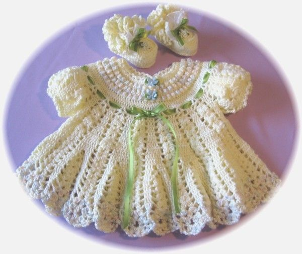 Crochet Ruffled Baby Dress Pattern : CROCHET PATTERN for